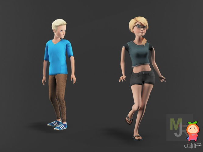 Cartoon Characters Pack3 VR  AR  low-poly 3d model 卡通人物模型