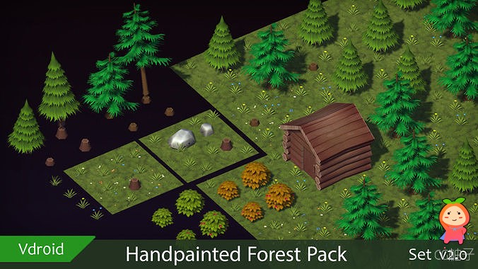 Handpainted Forest Pack v2 VR  AR  low-poly 3d model