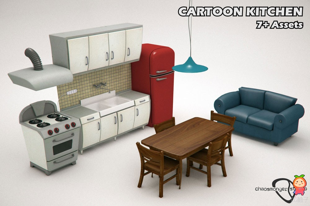 Cartoon Kitchen Bundle VR  AR  low-poly 3d model