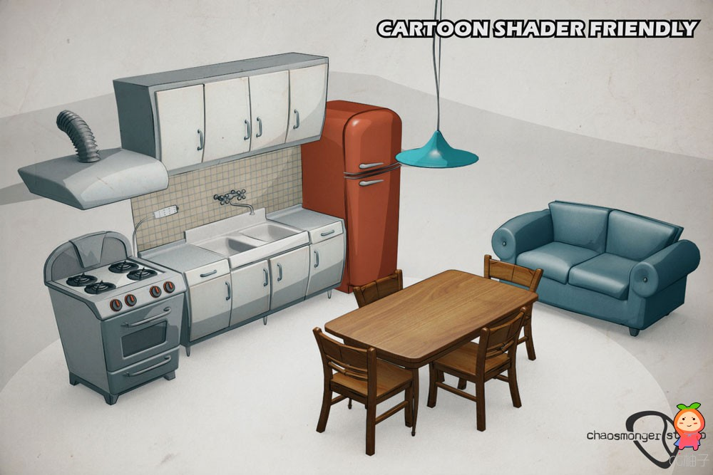 Cartoon Kitchen Bundle VR  AR  low-poly 3d model 卡通厨房道具模型