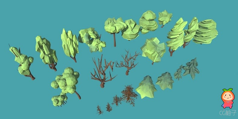 24 Trees Pack Low-poly 3D model