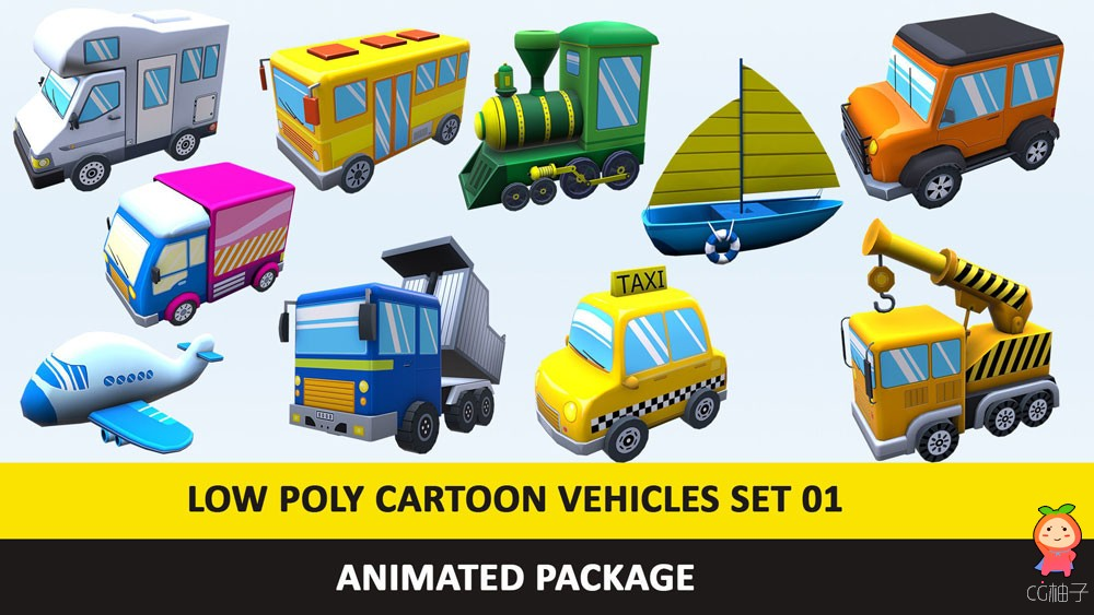 Animated Cartoon Cute Vehicles Low Poly Pack - 01 Games low-poly 3d model