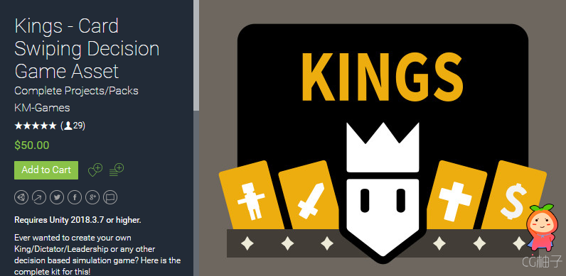 Kings - Card Swiping Decision Game Asset 1.55