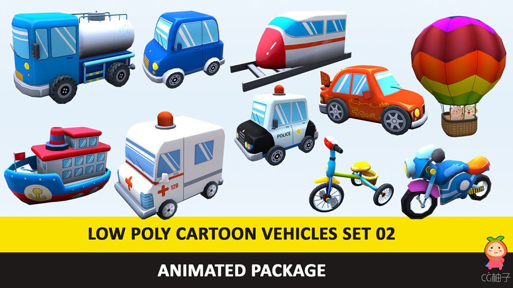 https://www.cgtrader.com/3d-models/vehicle/other/animated-toy-cartoon-cute-vehicles-low-poly-pack-02 ...