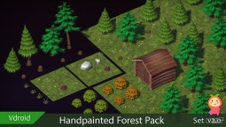 Handpainted Forest Pack v2 VR  AR  low-poly 3d model 手绘森林模型