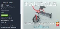 Tricycle With Controller 1.0 三轮车PBR模型