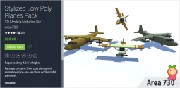 Stylized Low Poly Planes Pack 1.0 喷气式战斗机 轰炸机模型