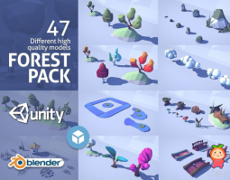 Cartoon Low Poly Forest Pack VR  AR  low-poly 3d model 卡通森林场景模型