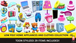 Toon Household Appliances Animated Low Poly Collection卡通道具模型