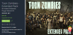 Toon Zombies - Extended Pack 1.0 卡通风格手绘僵尸模型