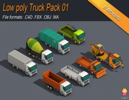 Low Poly Truck Pack 01 Isometric VR  AR  low-poly 3d model 卡车低模