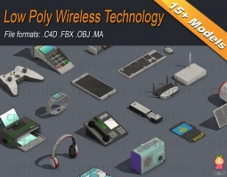 Low Poly Wireless Technology Isometric VR AR low-poly 3d model电子设备模型