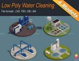 Low Poly Water Cleaning Isometric VR AR low-poly 3d model水清洗设备模型