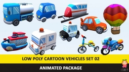 Animated Toy Cartoon Cute Vehicles Low Poly Pack - 02 AR VR low-poly 3d model