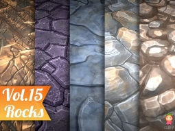 Stylized Rocks Vol 15 - Hand Painted Texture Pack Texture 岩石手绘纹理