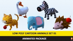 Cartoon Cute Animals Low Poly Pack - 01 AR VR Games Movies Low-poly 3D model