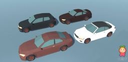 Low Poly Cartoon Cars Low-poly 3D model 低多边形卡通车模型