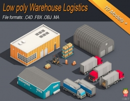 Low Poly Warehouse Logistics Isometric VR AR low-poly 3d model仓库物流模型
