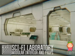 Sci-fi laboratory - modular interior and props 1.0科幻工作站实验室模型